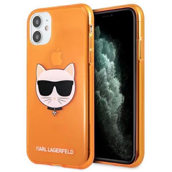 Karl Lagerfeld KLHCN61CHTRO iPhone 11 oranžovo / oranžový tvrdý Glitter Choupette Fluo