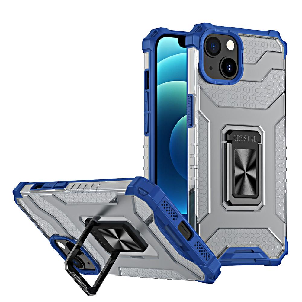Pevný robustný kryt na stojan Kickstand na iPhone 13 modrý