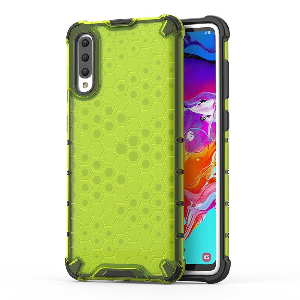 Honeycomb panceřované pouzdro se silikonovým rámem pro Samsung Galaxy A70 green