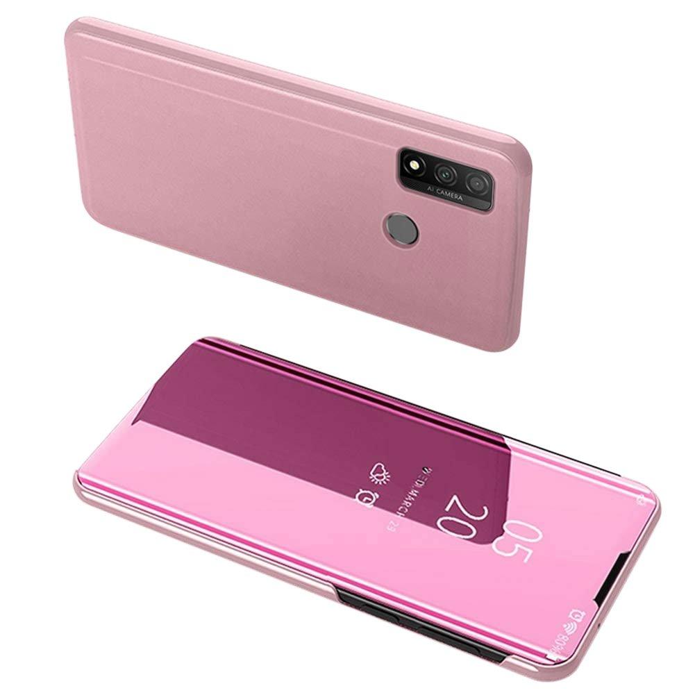 Knížkové pouzdro na Huawei P Smart 2020 pink s průhlednou přední stranou