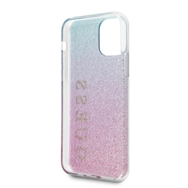 Guess GUHCN58PCUGLPBL hard silikonové pouzdro iPhone 11 Pro Pink-blue Glitter Gradient