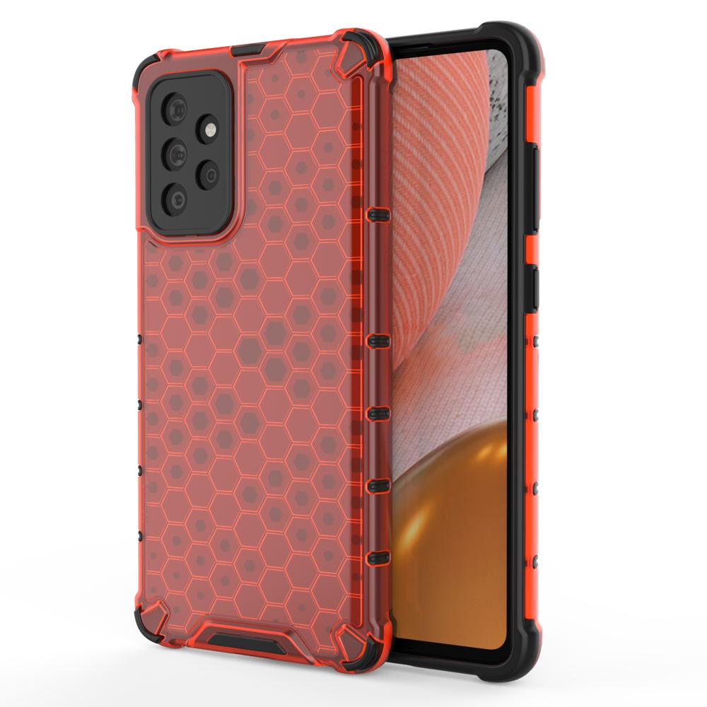 Honeycomb pancierové puzdro so silikónovým rámom pre Samsung Galaxy A72 / A72 5G red