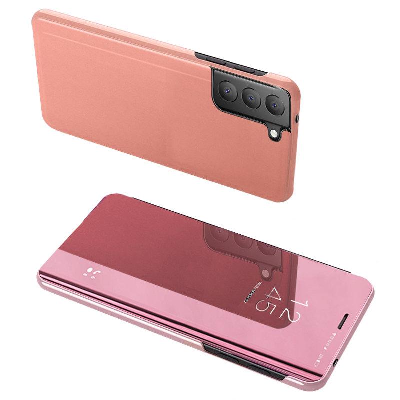 Knižkove púzdro pre Samsung Galaxy S21 FE 5G s priehľadnou prednou stranou pink