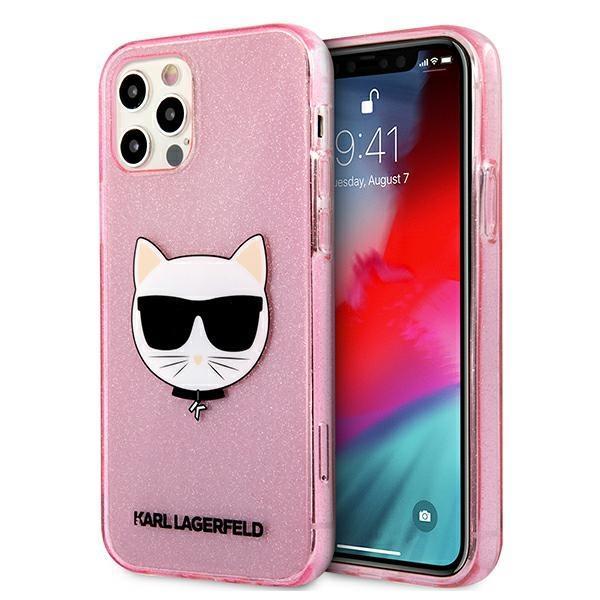 Karl Lagerfeld KLHCP12MCHTUGLP iPhone 12/12 Pro 6,1 & quot; ružová / ružová tvrdá lesklá choupeta