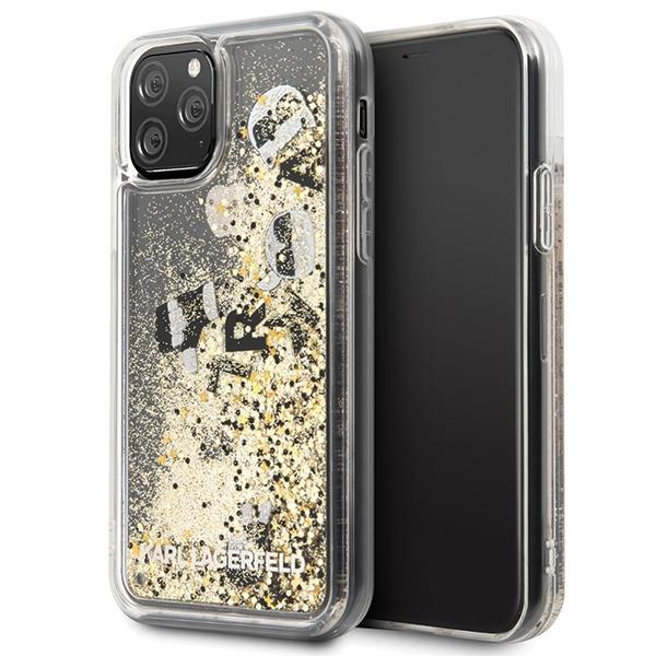 Karl Lagerfeld KLHCN58ROGO hard silikonové pouzdro iPhone 11 Pro black & gold Glitter