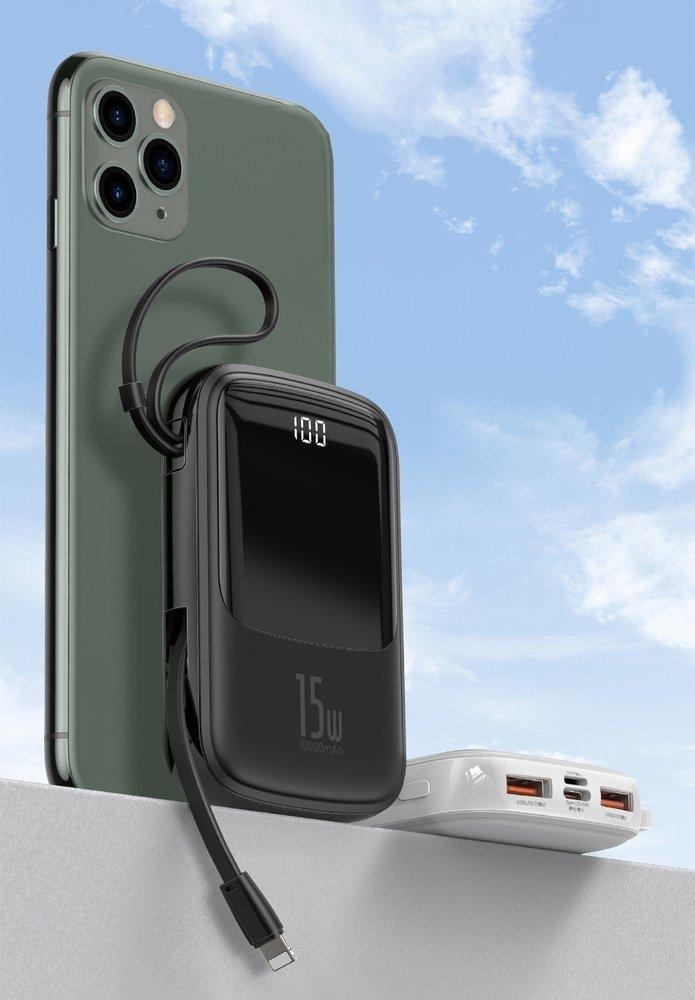 Baseus Q pow Digital Display 3A Power Bank 10000mAh s kabelem USB-C Black