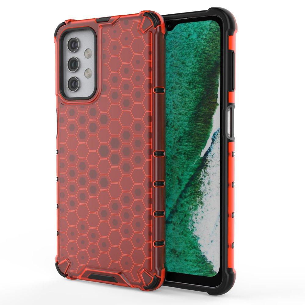 Honeycomb pancéřové pouzdro se silikonovým rámem pro Samsung Galaxy A32 5G red