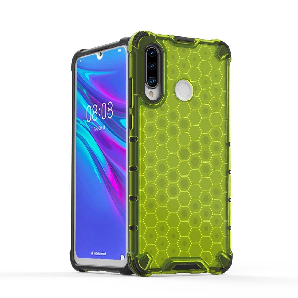 Honeycomb panceřové pouzdro se silikonovým rámem pro Huawei P30 Lite green
