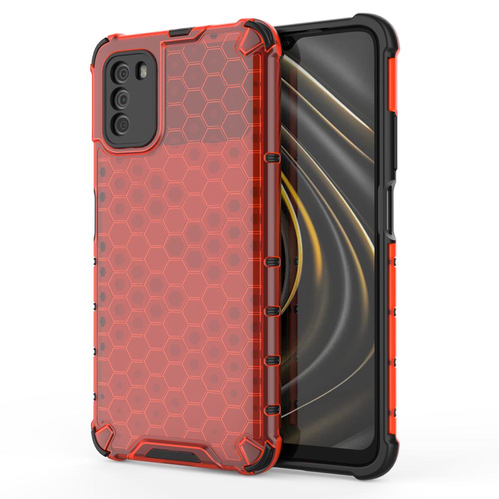 Honeycomb pancéřové pouzdro se silikonovým rámem pro Xiaomi Poco M3 / Xiaomi Redmi 9T red