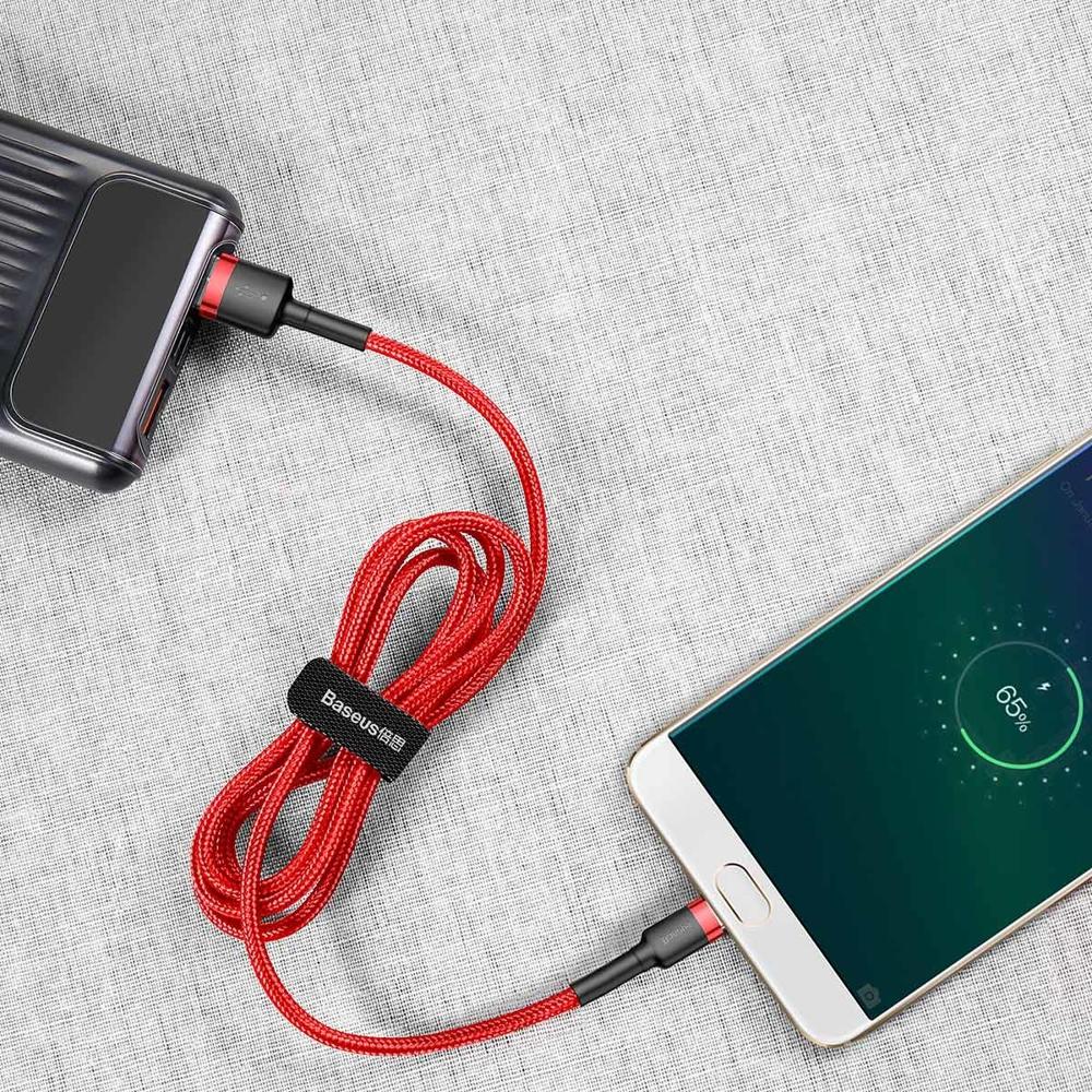 Baseus Cafule extra odolný nylonem opletený kábel USB / Micro USB QC3.0 2,4A 1m red