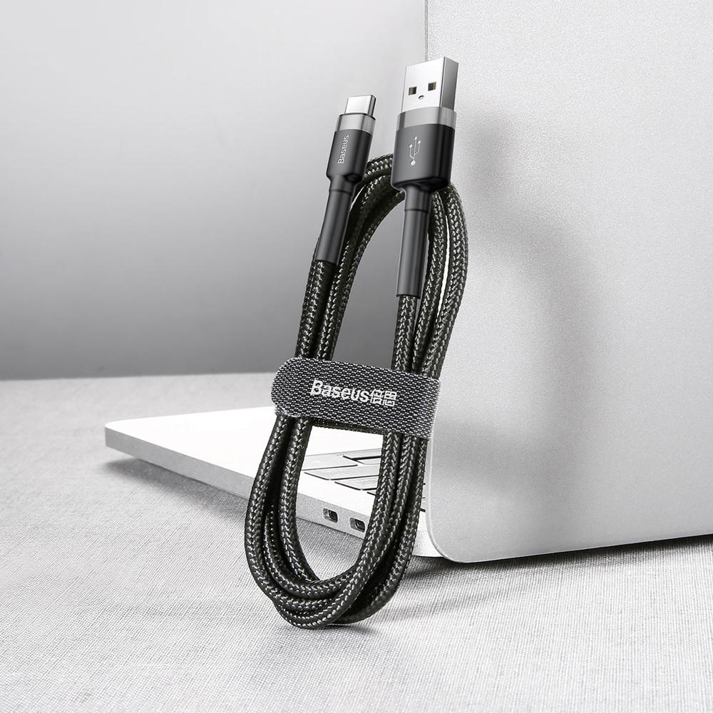 Baseus Cafule extra odolný nylonem opletený kabel USB / USB-C QC3.0 3A 1m black-grey