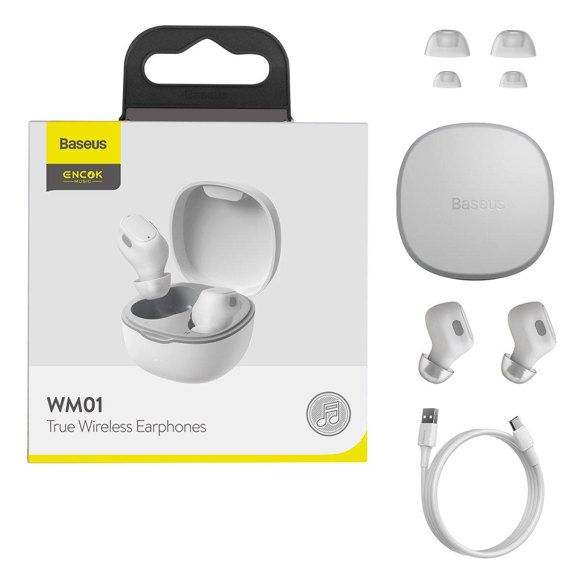 Baseus Encok WM01 TWS Bezdrátová sluchátka do uší Bluetooth 5.0 White