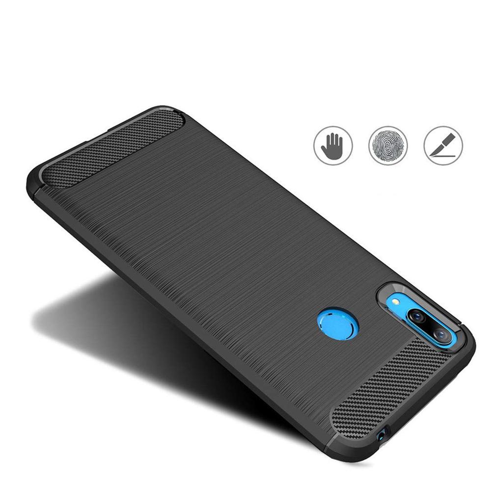 Karbonové pouzdro silikon poudrome na Huawei Y7 2019 / Y7 Prime 2019 modrý