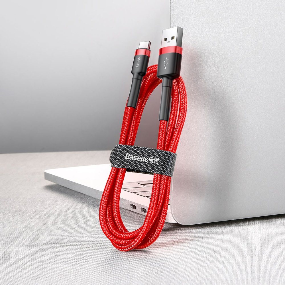 Baseus Cafule extra odolný nylonem opletený kábel USB / USB-C QC3.0 2A 3m red