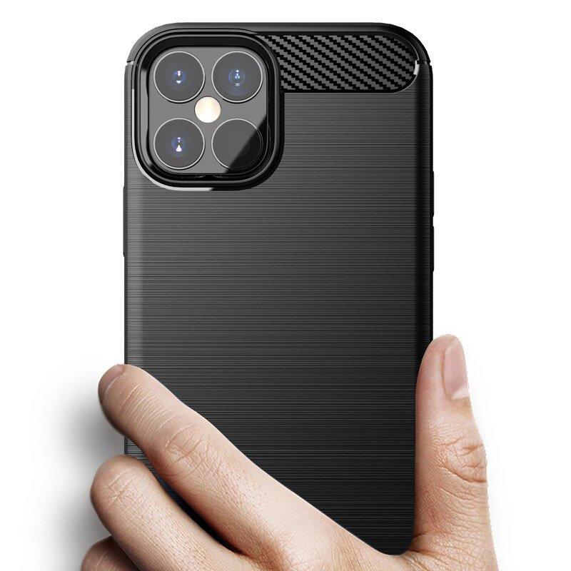 Carbon silikonové pouzdro na iPhone 12 / 12 Pro blue