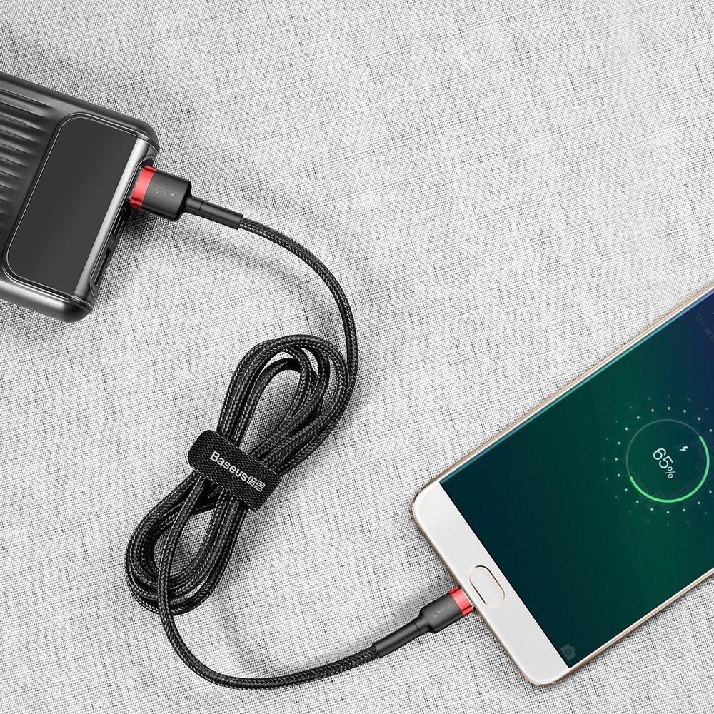 Baseus Cafule extra odolný nylonem opletený kábel USB / Micro USB QC3.0 2A 3m black-red