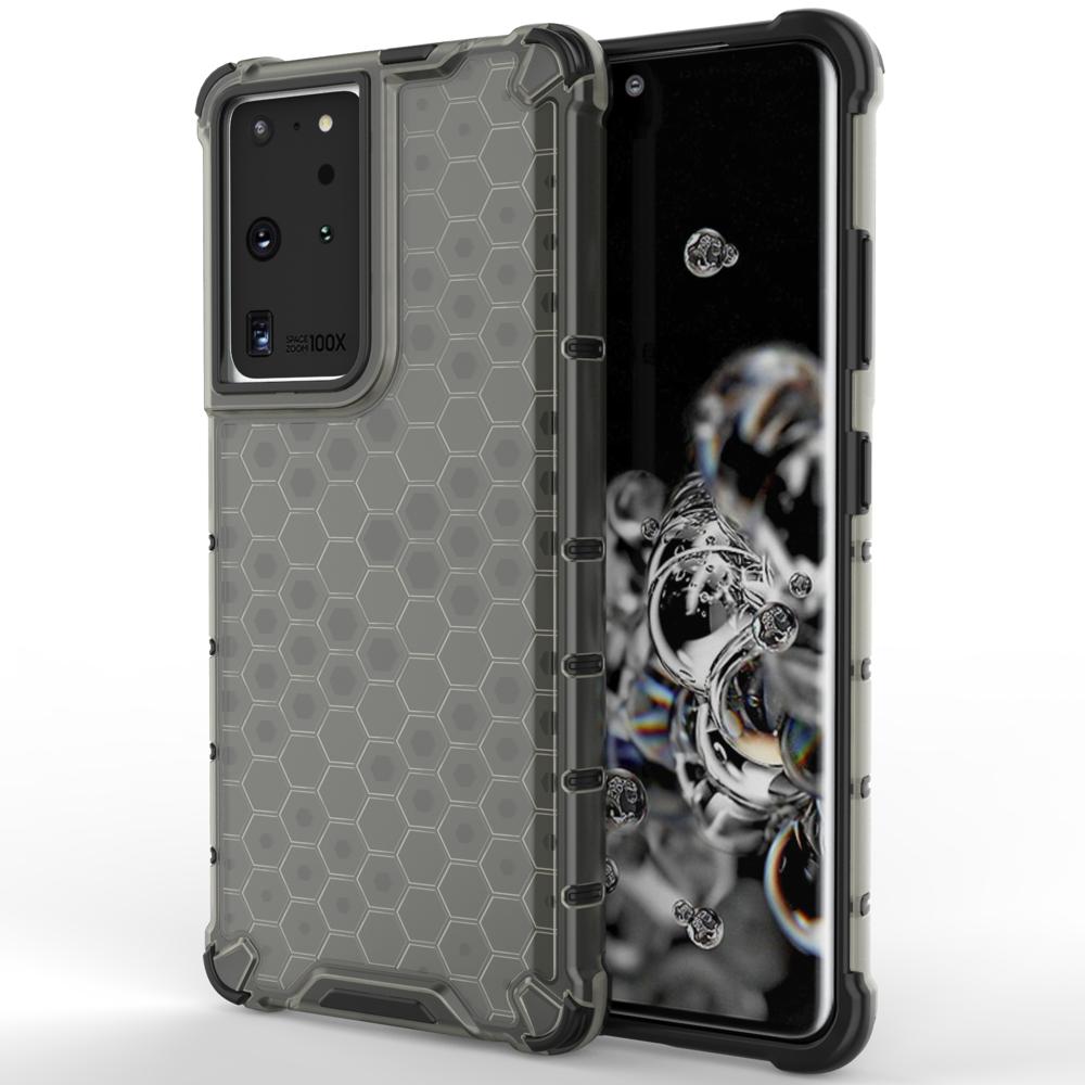Honeycomb pancéřové pouzdro se silikonovým rámem pro Samsung Galaxy S21 Ultra 5G black