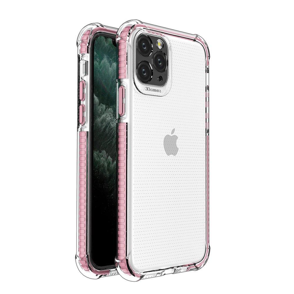 Spring Armor silikónové puzdro s farebným lemom pre iPhone 11 Pro pink