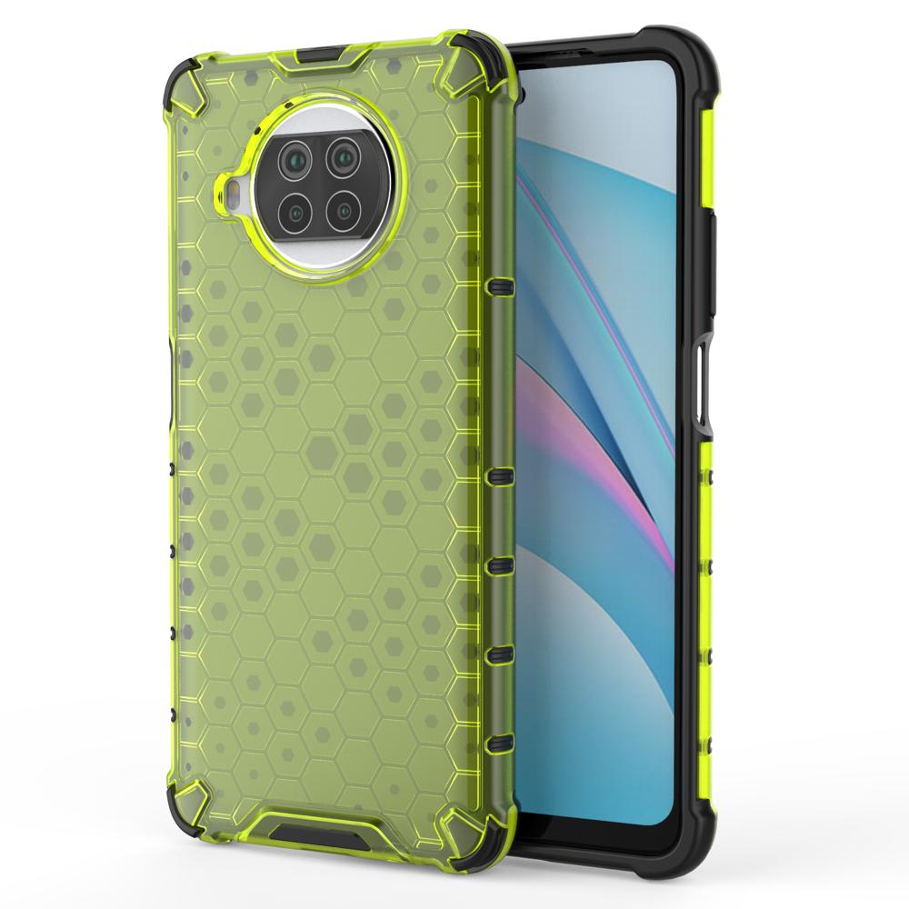 Honeycomb pancéřové pouzdro se silikonovým rámem pro Xiaomi Mi 10T Lite green