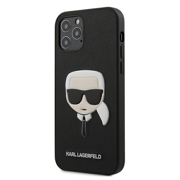 "Karl Lagerfeld KLHCP12LSAKHBKhard silikonové pouzdro iPhone 12 Pro MAX 6.7"" black Saffiano Ikonik Karl`s head"