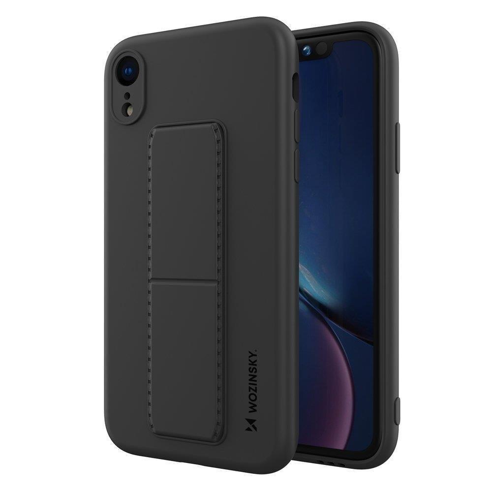 Wozinsky Flexibilné silikónové puzdro so stojanom na iPhone XR black