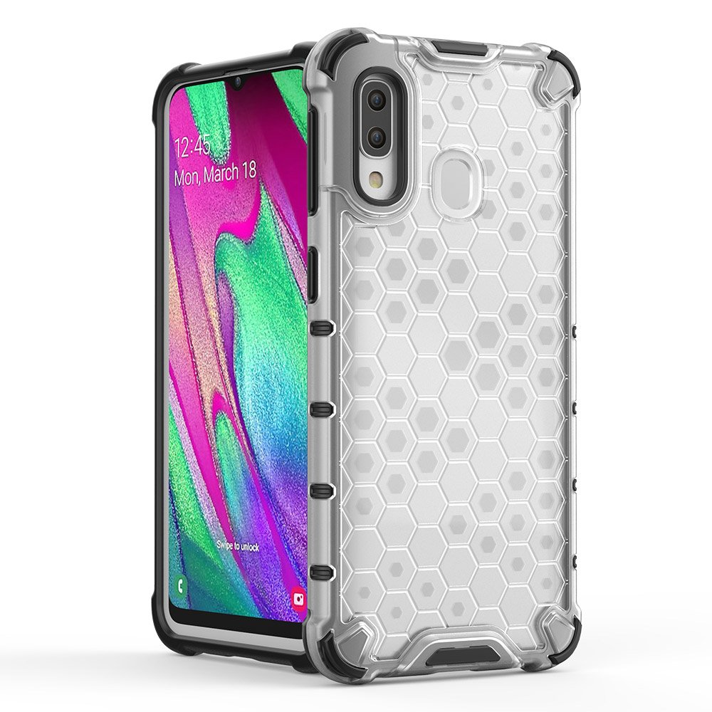 Honeycomb pancéřové pouzdro se silikonovým rámem pro Samsung Galaxy A40 red