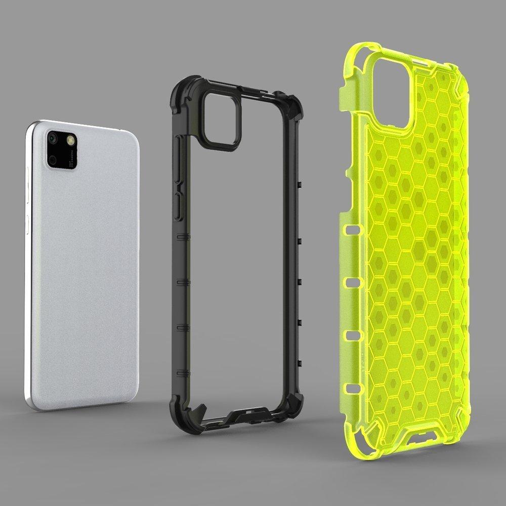 Honeycomb pancéřové pouzdro se silikonovým rámem na Huawei Y5p transparent