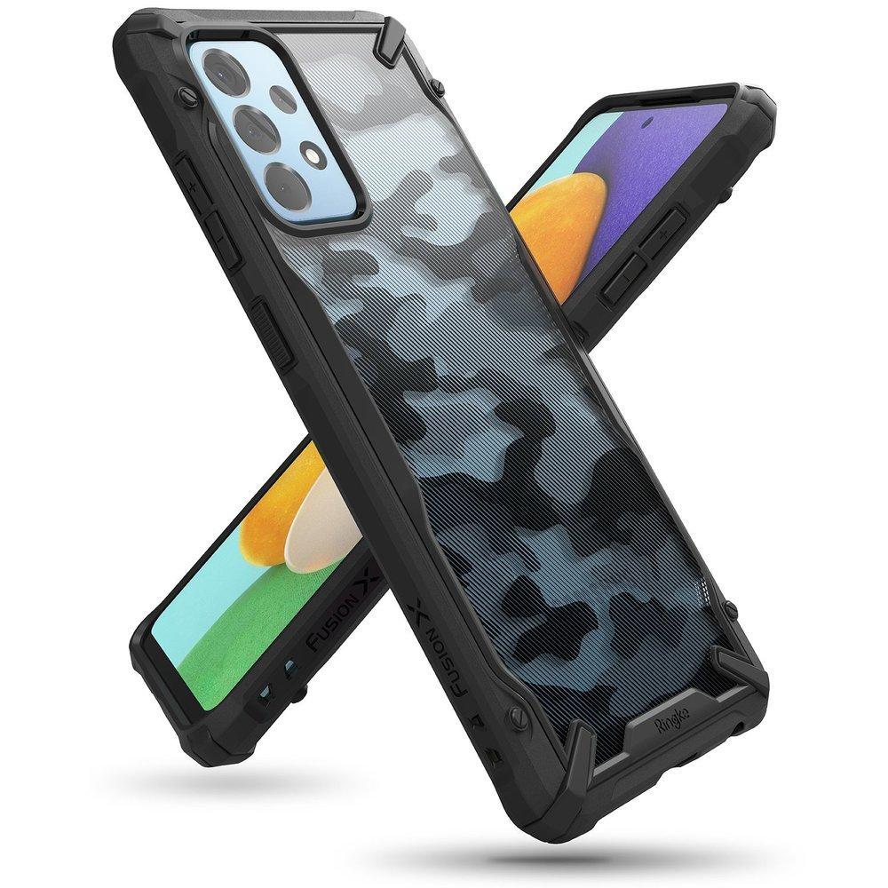 Ringke Fusion X Design pancierové puzdro pre Samsung Galaxy A52 / A52 5G Camo Black