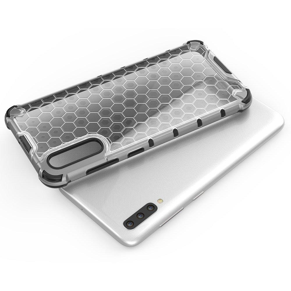 Honeycomb panceřované pouzdro se silikonovým rámem pro Samsung Galaxy A70 red