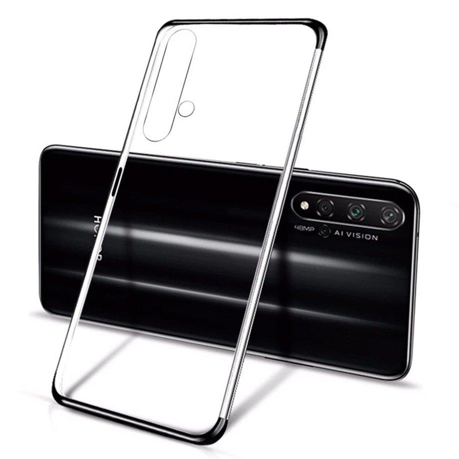 Gelové pouzdro s metalickým rámečkem pro Huawei Nova 5T / Honor 20 / Honor 20 Pro / Honor 20S , černá 9111201910454