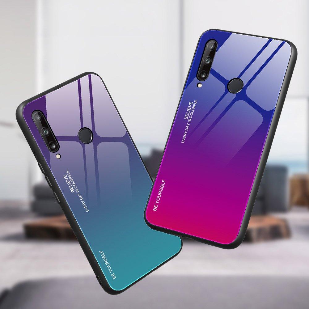 Gradient Glass tvrzené temperované sklo 9H na zadní část na Huawei P40 Lite E pink-purple