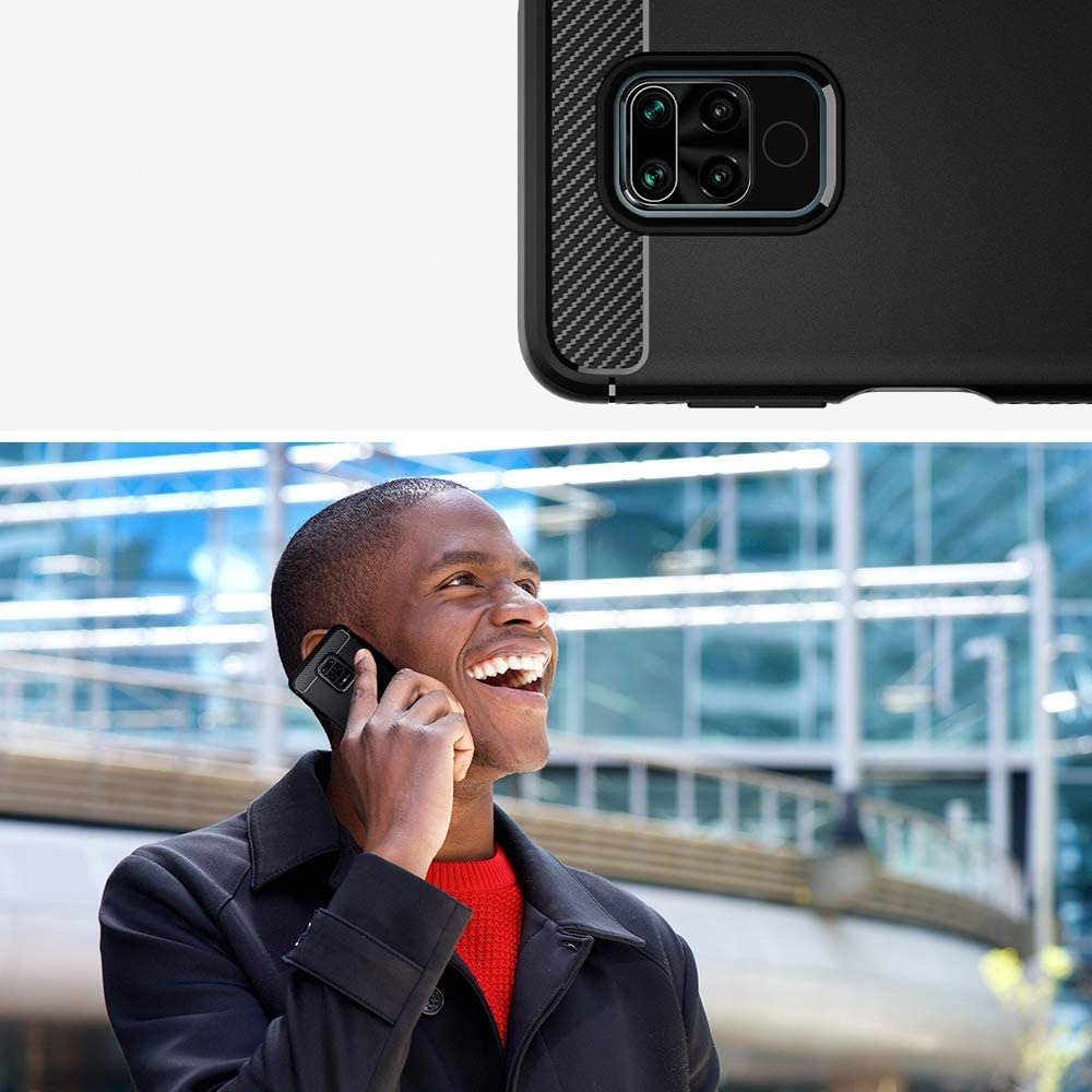 Carbon silikonové pouzdro na Xiaomi Redmi Note 9 / Redmi 10X 4G black
