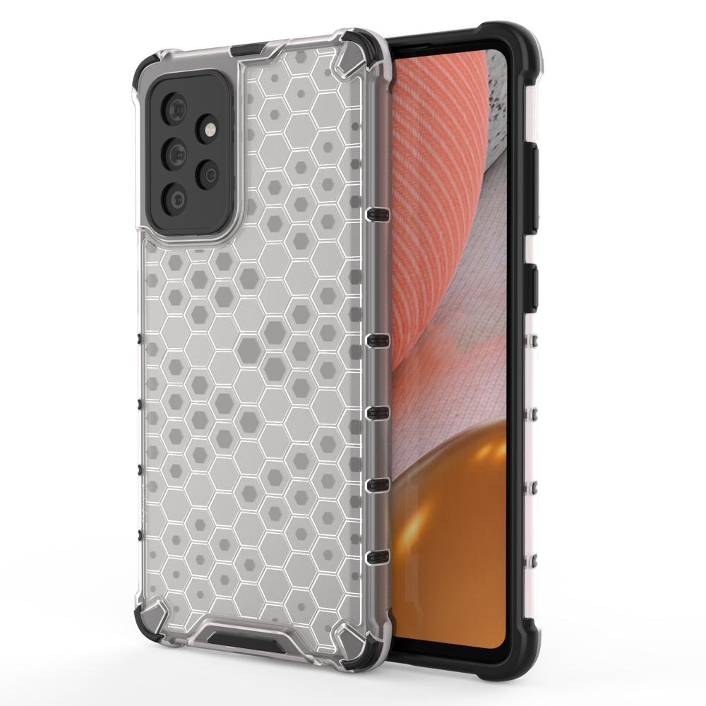 Honeycomb pancierové puzdro so silikónovým rámom pre Samsung Galaxy A72 / A72 5G transparent