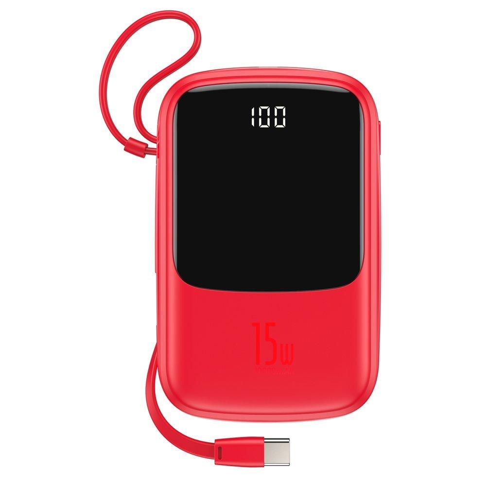 Baseus Q pow Digital Display 3A Power Bank 10000mAh s kabelem USB-C Red