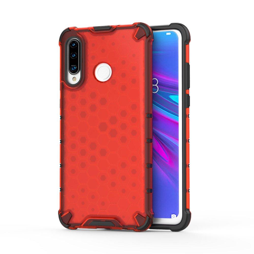 Honeycomb panceřové pouzdro se silikonovým rámem pro Huawei P30 Lite red