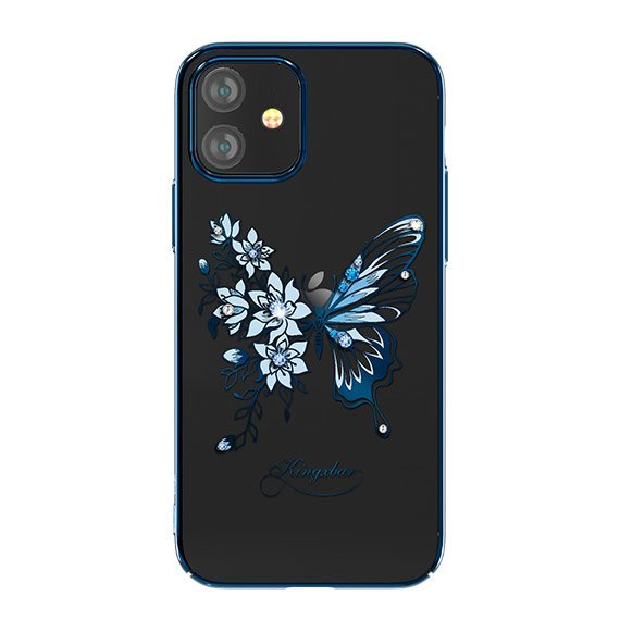 "Kingxbar Butterfly silikonové pouzdro s original Swarovski crystals na iPhone 12 Mini 5,4"" blue"