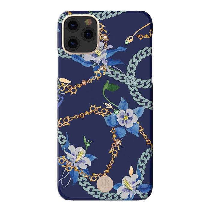 Kingxbar Luxury Series silikonové pouzdro s original Swarovski crystals pro iPhone 11 Pro Max blue