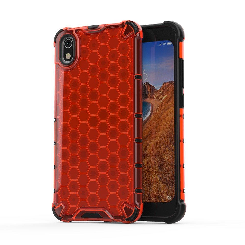 Honeycomb panceřové pouzdro se silikonovým rámem pro Xiaomi Redmi 7A red