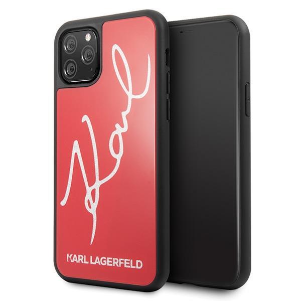 Karl Lagerfeld KLHCN65DLKSREhard silikonové pouzdro iPhone 11 Pro MAX red Signature glitter