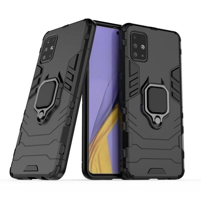 Hybrid pancéřové polykarbonátové pouzdro s kroužkem na Samsung Galaxy A71 black