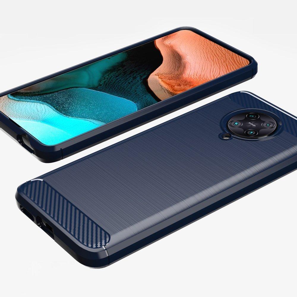 Carbon silikonové pouzdro na Xiaomi Poco F2 Pro blue