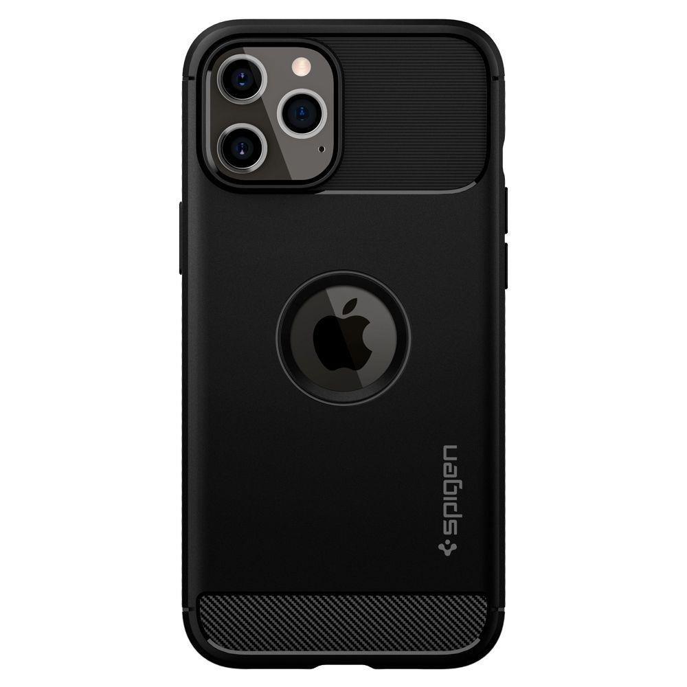 Spigen Rugged Armor silikonové pouzdro na iPhone 12 Pro Max Matte Black