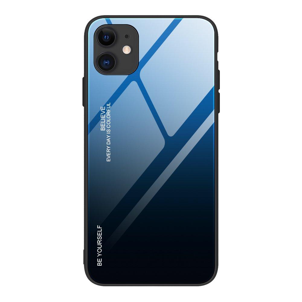 Gradient Glass pouzdro 9H na zadní část na iPhone 12 / 12 Pro black-blue