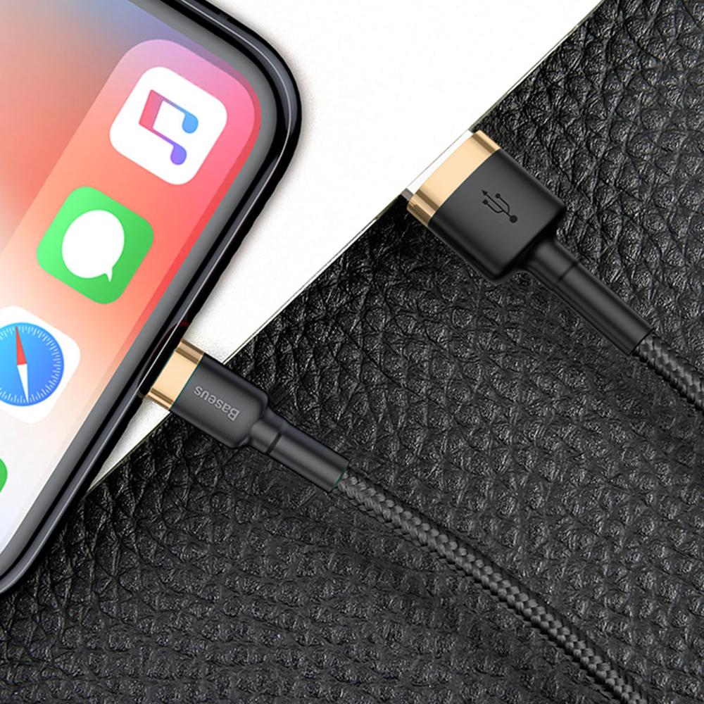 Baseus Cafule extra odolný nylonem opletený kábel USB / Lightning QC3.0 2,4A 1m black-gold