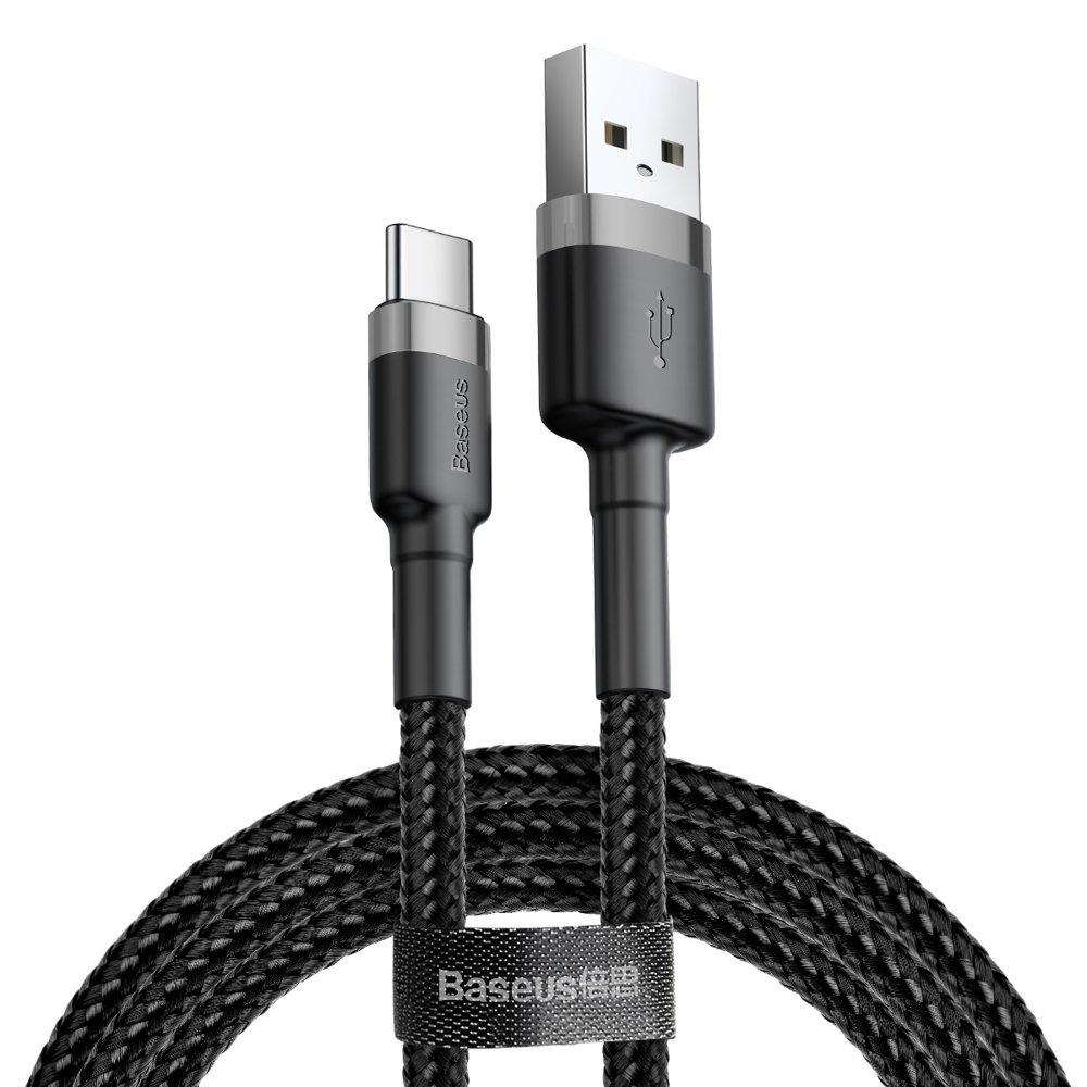 Baseus Cafule extra odolný nylonem opletený kábel USB / USB-C QC3.0 2A 3m black-gray