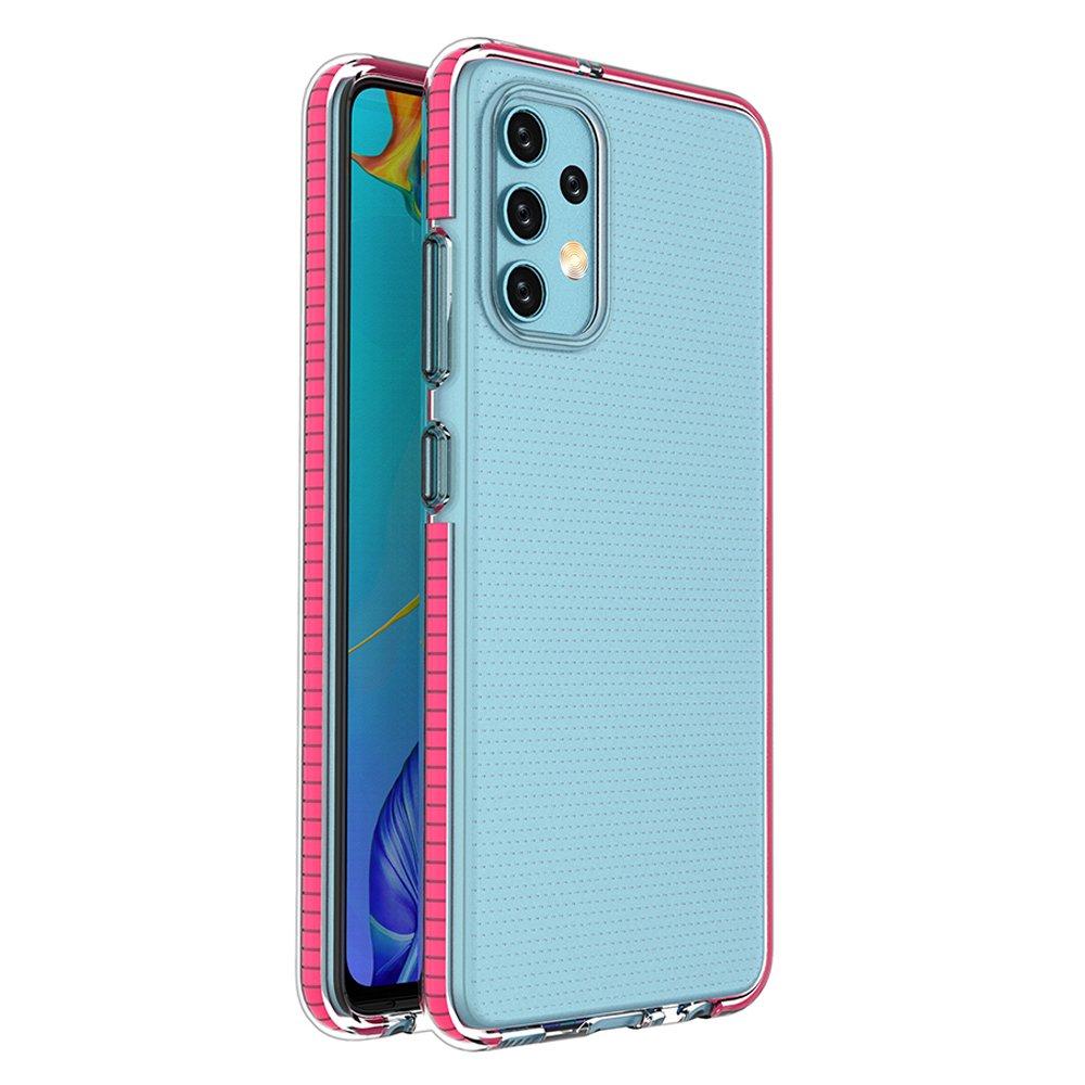 Spring silikonové pouzdro s barevným lemem na Samsung Galaxy A32 4G pink