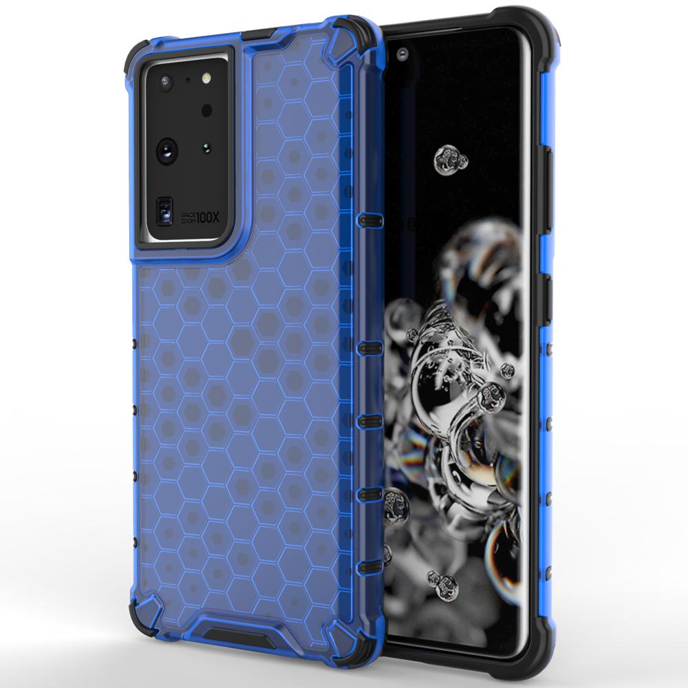 Honeycomb pancierové puzdro so silikónovým rámom pre Samsung Galaxy S21 ULTRA 5G blue