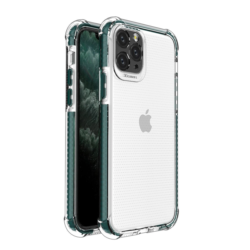 Spring Armor silikónové puzdro s farebným lemom pre iPhone 11 Pro dark green