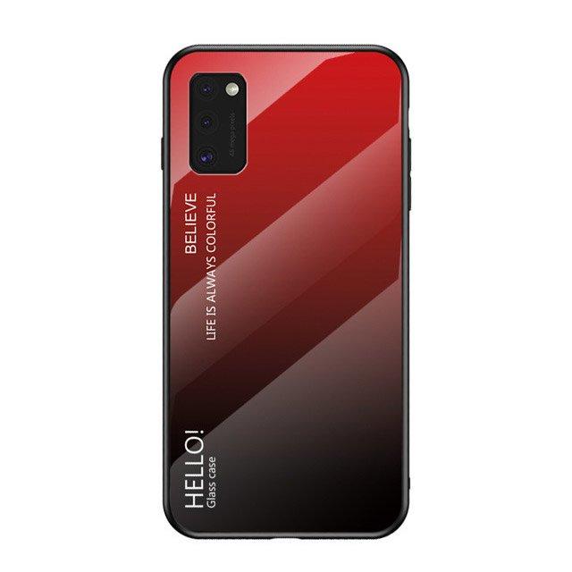 Gradient Glass tvrzené temperované sklo 9H na zadní část na Samsung Galaxy A41 black-red