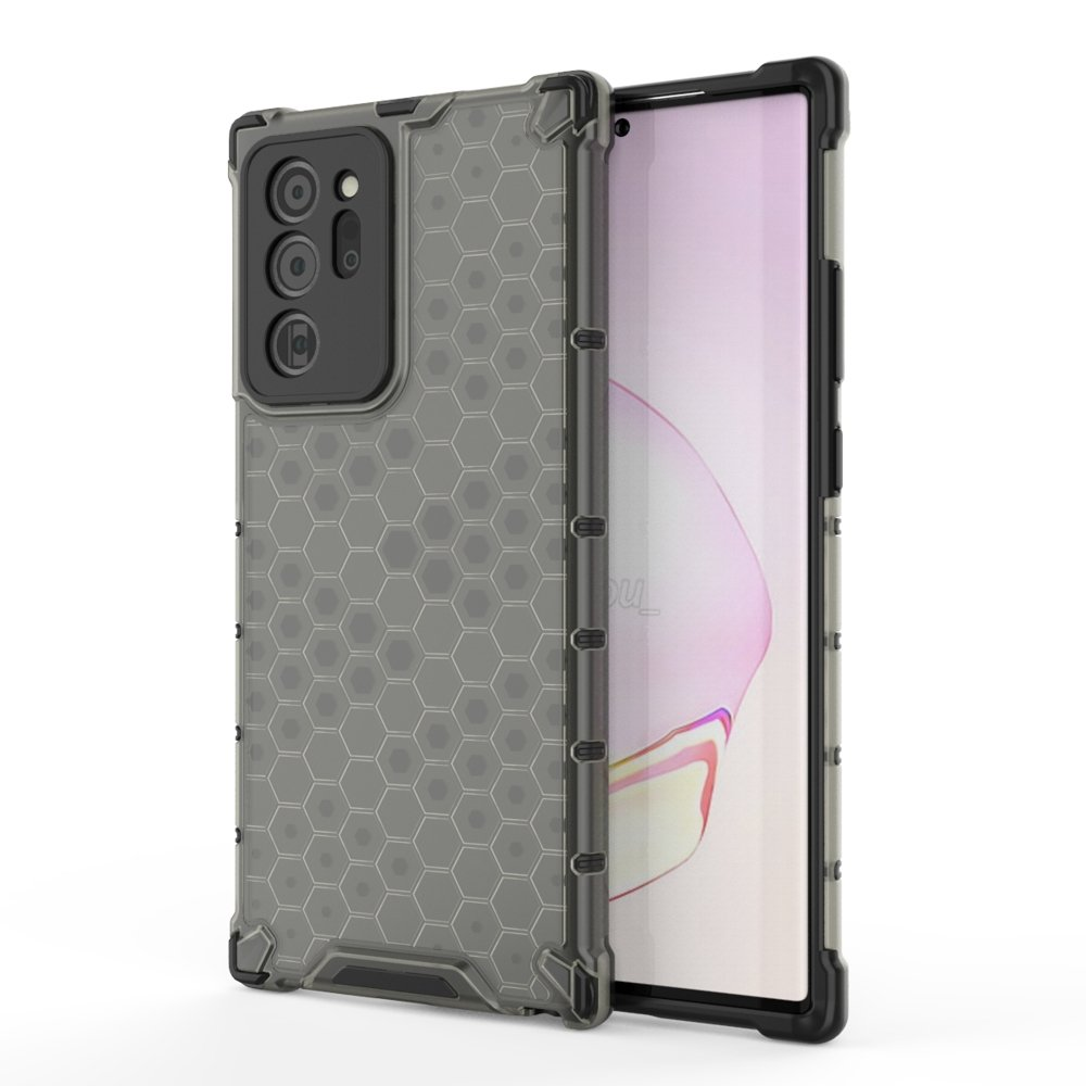 Honeycomb pancierové puzdro so silikónovým rámom pre Samsung Galaxy Note 20 black
